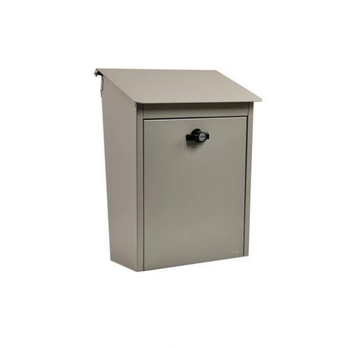 låsbar postlåda grå