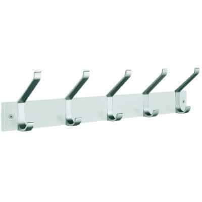 klädhängare tre krokar krokrad kroklist vit aluminium fem krokar
